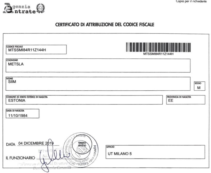 How to get Codice Fiscale in Milan Italy